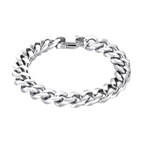 Pulsera clásica de acero inoxidable con diseño de hueso de serpiente, estilo retro, para hombre, pulsera de negocios, 8.46' Long,