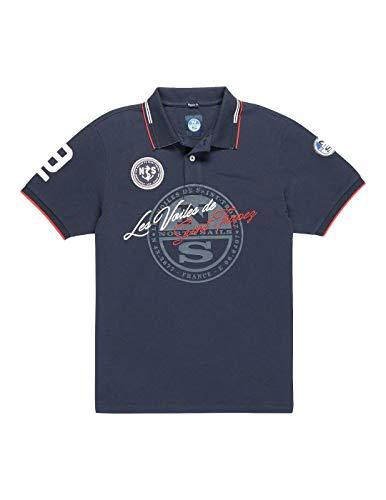 NORTH SAILS Saint-Tropez Herren Polo Hemd in Navy Blau Baumwolle mit Kurzen Ärmeln - Gerippter Kragen und Zwei Knöpfe Knopfleiste - S