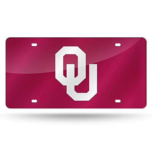 Rico Industries NCAA Oklahoma Sooners Laser Inlaid Metal License Plate Tag