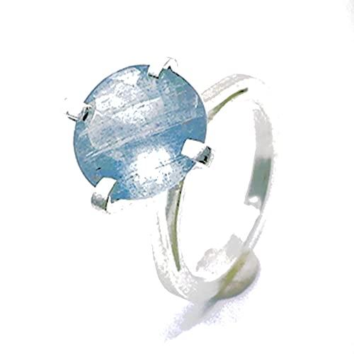 Precioso anillo con gran Aguamarina redonda natural de 4.03 quilates de diametro 11 mm en talla Checker. Anillo realizado en plata de ley con Aguamarina.