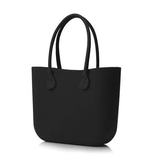 Borsa O bag grande nera con manici lunghi in ecopelle neri