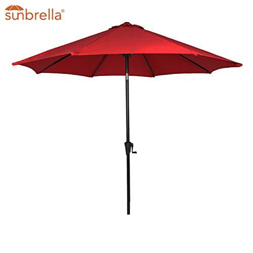 Patio Tree Outdoor Patio Sunbrella Umbrella 9-Feet Aluminum Market Table Umbrella, Canvas Jockey Red