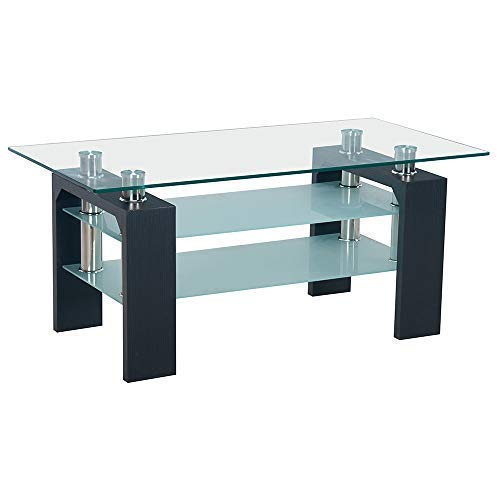 Neo® Modern Black Rectangle Clear Glass TV Television Glass Stand Table Unit Cabinet Shelf 3 Tier