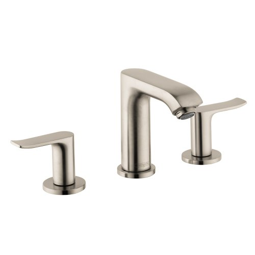 hansgrohe Metris Modern Premium Easy Install 2-Handle 1 5-inch Tall Bathroom Sink Faucet in Brushed Nickel, 31083821