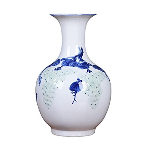 rzoizwko Jingdezhen Jarrón de cerámica para decoración, florero de cerámica Moderno Lotus Pintado a Mano, Al.36 cm