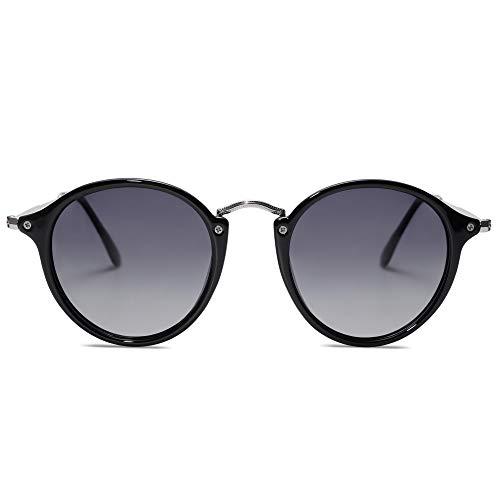 SOJOS Gafas de sol polarizadas redondas para mujeres y hombres, estilo clásico vintage retro SJ2148