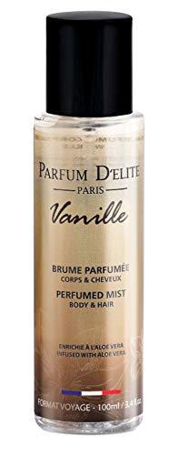 PARFUM D'ELITE PARIS - Vanille - Brume Parfumée Corps & Cheveux - Made in France - Pour Femme - Enrichie en Aloe Hydrantante, 100 ml