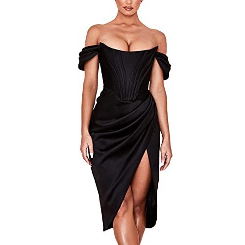 Vestido de corsé para mujer, formal de boda, invitado, cóctel, bodycon, vestido largo de verano, otoño, plisado, Negro, L