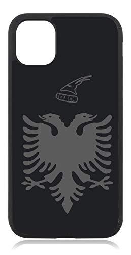 Kompatibel mit iPhone 12 Hülle, iPhone 12 Pro Hülle Albanien Fahne Mattschwarz Schwarz Case Cover Silikon