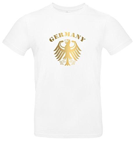 T-Shirt Herren WM Shirt Deutschland Fussball Bundesadler Germany Schriftzug Deutschland 2018, T-Shirt, Grösse XXL, weiß