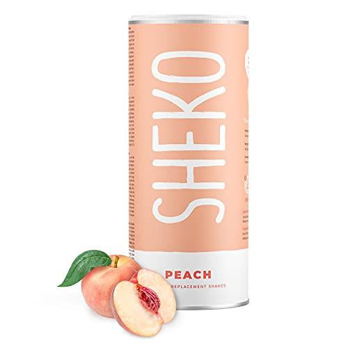 SHEKO Peach Pfirsich-Joghurt Mahlzeitersatz Shake | 25 Shakes pro Dose | Proteinreich, Glutenfrei & Natürlicher Geschmack | Diät Shakes zum Abnehmen