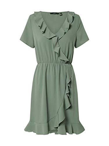 VERO MODA Damen VMOLIVIA Frill SS Short Dress Color Kleid, Laurel Wreath, XS