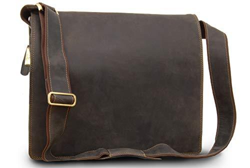 VISCONTI - Leder - Laptop-Tasche - XL Umhängetasche A4 Plus im Jägerstil - Harvard - (16054) - Öl Braun