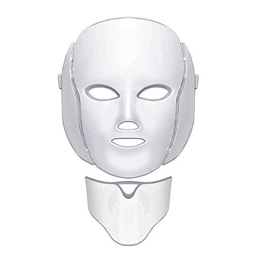 WISHLTZYF El 7-LED de color casa facial y la belleza de la piel del cuello instrumento de rejuvenecimiento máscara foto-rejuvenecimiento es adecuado for el acné blanqueamiento, anti-arrugas y elastici