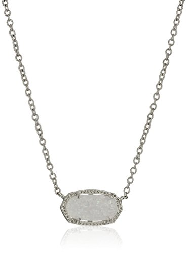 Kendra Scott Elisa Pendant Necklace for Women, Fashion Jewelry, Rhodium-Plated, Iridescent Drusy