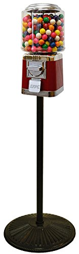 Review Red & Chrome Classic Metal Gumball Machine with Retro Stand