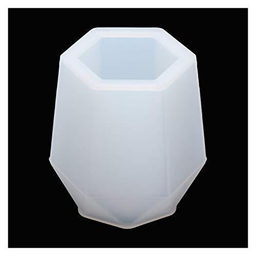 Ltjqsm 2 stücke DIY Zylinder Weiß Transparent Silikonharz Kerzenform Blume Pflanzer Machen Sukkulenten Ton Kristallklebstoffformen (Color : Hexagon Pen Holder)