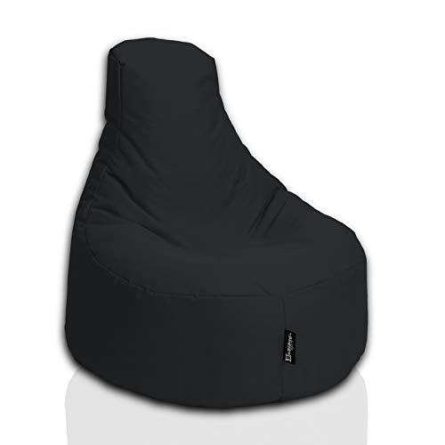 BuBiBag Sitzsack Gamer Playstation Sessel Lounge Kissen original Sitzkissen für In & Outdoor geeignet fertig befüllt mit EPS Styroporfüllung in 31 Farben erhältlich (80cm Durchmesser,Schwarz)