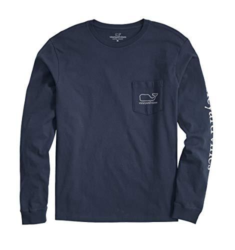 vineyard vines Men's Long-Sleeve Whale Pocket T-Shirt, Blue Blazer, X-Large