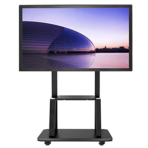 HWF Soporte TV Trole Soporte de TV de Suelo Universal con Soporte y Estante AV, Se Adapta a televisores de 32 43 50 55 60 65 70 75 Pulgadas, Altura Ajustable Soporte de TV de pie, Carga 120kg