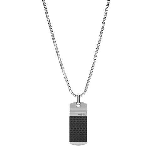 Fossil JF03316040 Herren Collier Silber Schwarz 50 cm