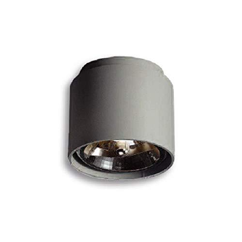 ABVERKAUF Lampenlux Designer Aufbauleuchte Aufbaulampe Aufbaustrahler Tragus QR111 50W 230V Gusseisen Grau (mit Leuchtmittel)