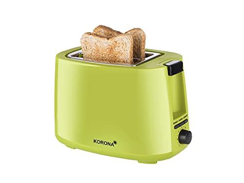 Korona 21133 Tostadora | verde | 2 rebanadas | 750 vatios | con accesorio para panecillos así como un ajuste de descongelación y recalentamiento