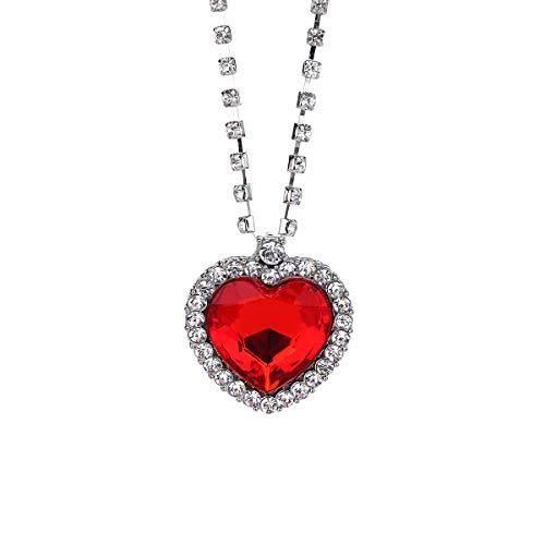 Malidou Ruby and Crystal Accent Titanic Collar Colgante Oro, con corazón, con Bola, Joya de Titanio, para Mujer (Rojo)