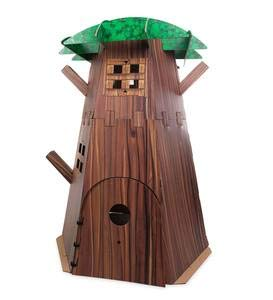 """HearthSong Big Indoor Tree Fort Build-A-Fort Kit with Four Working Windows and Door, 7'H x 58"""" diam., with Sturdy Cardboard Pieces and Hook and Loop Tape"""