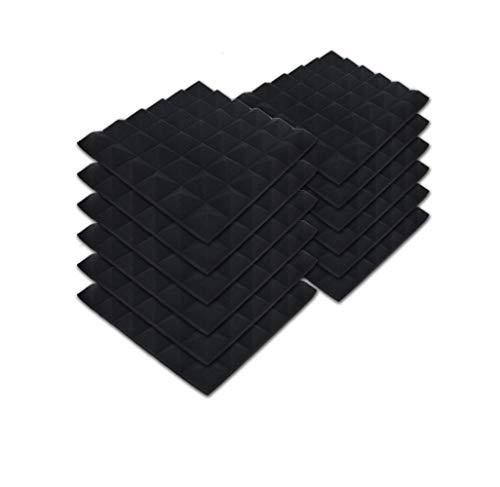 SK Studio 12 Stück Akustikschaumstoff Noppenschaumstoff Akustik Schaumstoff Schall Dämmung Dämmung für Tonstudio Schallabsorbierende Dämpfungswand Schaumpyramide 30x30x2.5cm, Schwarz