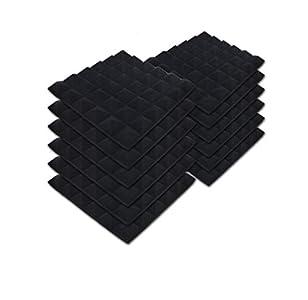 SK Studio Paquete de 12 Insonorizacion Pirámide Espuma Absorcion Aislamiento Acustica Paneles Tratamiento 30x30x2.5cm, Negro