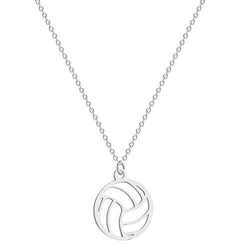Hwenli Halsketten-Anhänger, Runde Volleyball-Anhänger Halskette Edelstahl Volleyball-Anhänger Claviclekette Für Unisex Schmuck Sport Charm Volley Sport-Fan-Geschenke,Silber