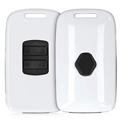 Kwmobile Funda Compatible Con Renault Llave De Coche Smart Key De 4 Botones (Solo Keyless Go) - Carcasa Dura Para Llave De Coche Mando De Auto - En Blanco