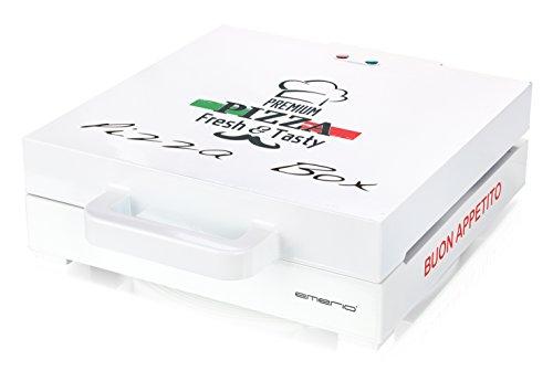 emerio PB-115331 - 1200 W - Pour pizza jusqu'à 30 cm - Revêtement anti-adhésif - Chaleur supérieure et inférieure - Design classique en carton à pizza.