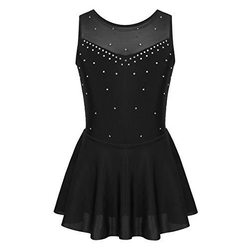iixpin Vestido de Danza Ballet sin Mangas para Niñas Maillot Tutú Brillante de Patinaje Artístico Vestido Gimnasia Ritmica Ropa Danza Niña 6-14 Años