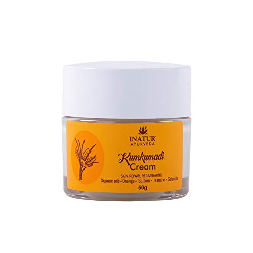 Inatur Kumkumadi Face Cream, Night Cream, For Improve Skin Texture, Clears Complexion, Fights pigmentation, Controls Acne, Clears Blemishes, Lightens & Rejuvenates Skin 50g