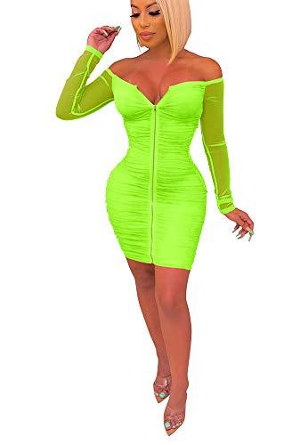 Women Lace Dress Mesh Sheer Slit Off Shoulder Deep V Neck Long Sleeve Bodycon Club Party Midi Dress Plus Size Green