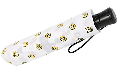 Emoticon Taschenschirm Bedruckt Smile mit Auf-Automatik - White-Allover