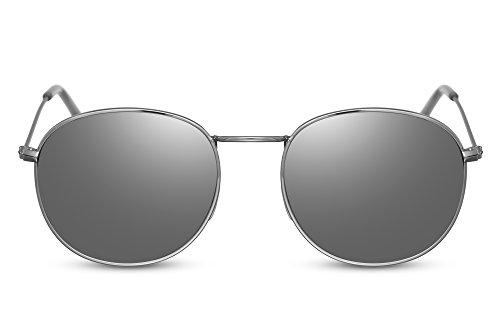 Cheapass Rund-e Sonnenbrille Gold-en Silber Verspiegelt-e Linsen Hipster UV-400 Metall-Rahmen Unisex