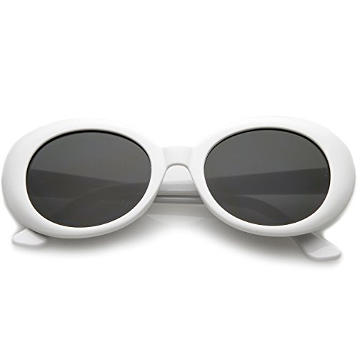 zeroUV - Large Clout Goggles Thick Oval Frame Sunglasses with Round Lens 53mm (White/Smoke)