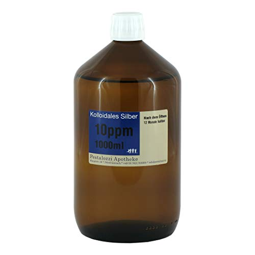 Kolloidales Silber 10ppm aus Apotheken-Herstellung - 100% natürliches, kolloidales Silberwasser, ohne chemische Zusatzstoffe, Inhalt: 1000 ml