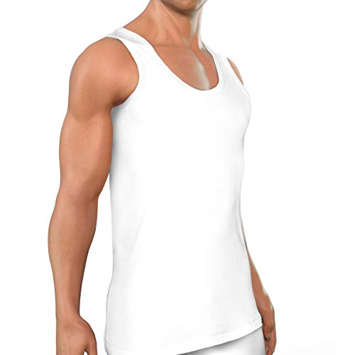 ROYALZ Unterhemd Herren Weiß 5er Pack Größe XL Klassisch Tank Top Männer lang Baumwoll-unter-Shirt Oeko-Tex Standard 100 geprüft 5er Set