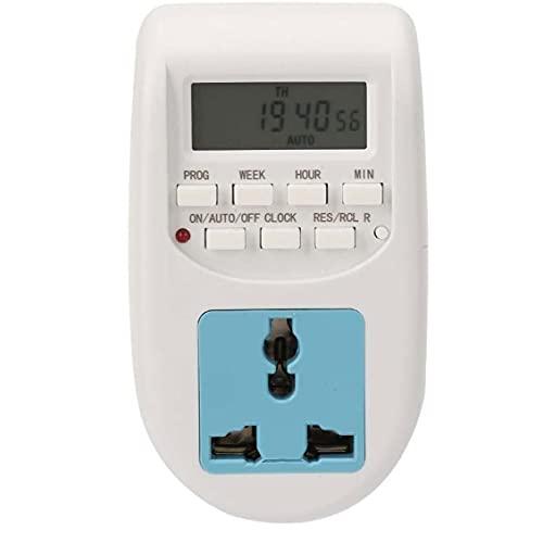 Temporizador programable del zócalo del enchufe eléctrico digital LCD 220V interruptor de la luz 7 de distribución y control de ahorro de energía del Antirrobo AL-06 interruptor de Día,