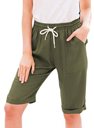 Pantalones cortos de running de color sólido para mujer, sueltos, cómodos, con cordón, con bolsillo, cómodo, cordón, yoga, gimnasio, correr, ciclismo