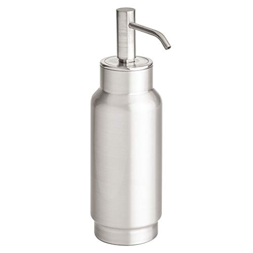 Price comparison product image iDesign Austin Liquid,  Stainless Steel Refillable Bathroom Dispenser,  Hand Soap Pump Bottle for Sinks and Worktops,  Matte Silver,  8.8 cm x 6.7 cm x 22.1 cm