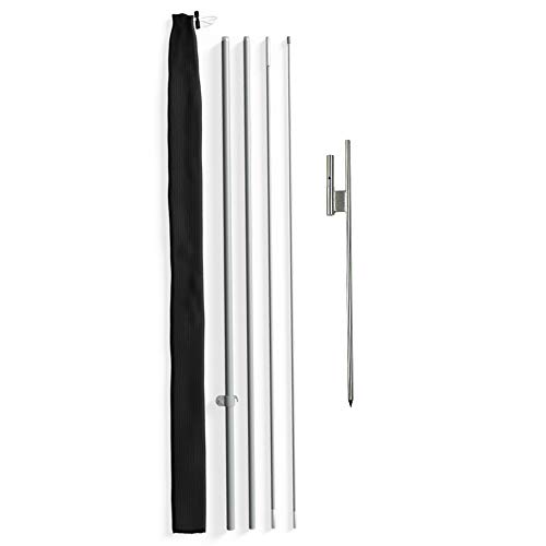 Vispronet - Large Feather Flag Pole Set - Swooper Flag Pole Kit and Ground Spike � Outdoor and Roadside Advertising (No Flag Included)