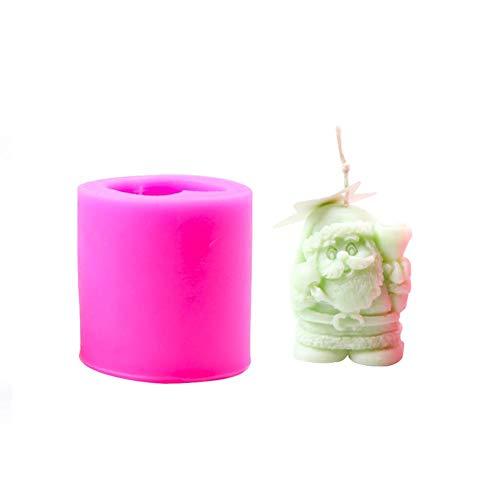Moule 3D – Moule en silicone pour bougie de Noël en forme de Père Noël, pour fondant, pâte Fimo, savon, décoration de gâteau