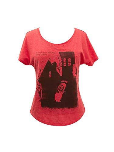 Camiseta de manga morcego feminina com tema literário de livro com estampa Out of Print, The Haunting of Hill House, Medium