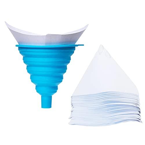 100 Stück Lacksiebe, Einweg Farbe Papier Siebe mit 1 Stück Silikon Filter ,Einweg Lackfilter für Wassertransferdruck,Filtern Farbe