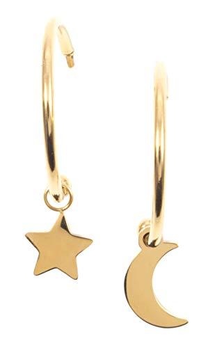 Happiness Boutique Damen Mond und Stern Creolen mit Anhängern in Goldfarbe | Kleine Runde Ohrringe Edelstahlschmuck